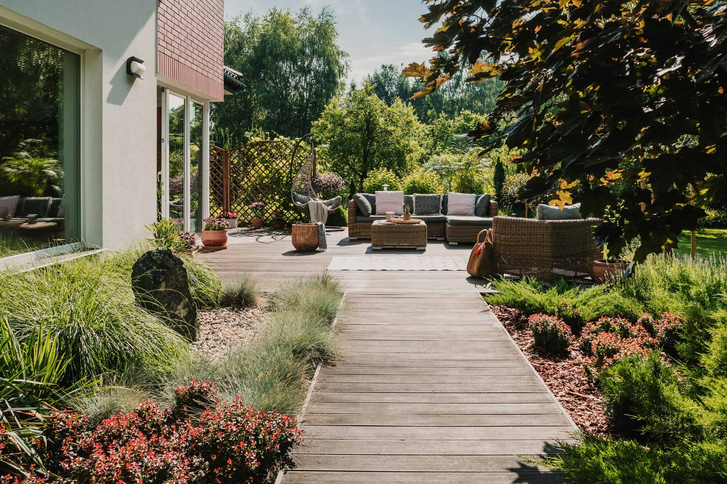 wooden path to terrace in the garden with trendy g 5HMD3RJ resize